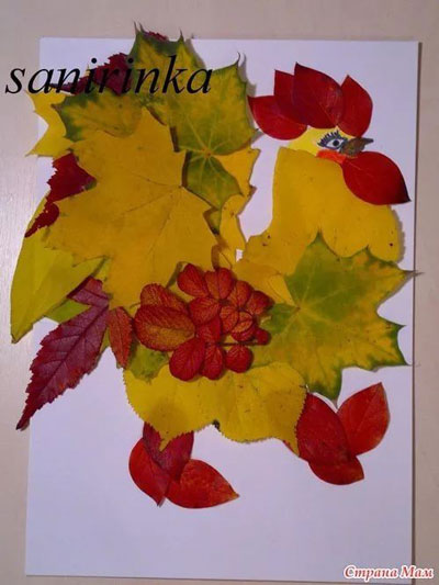 аппликация из листьев на листе бумаги 7