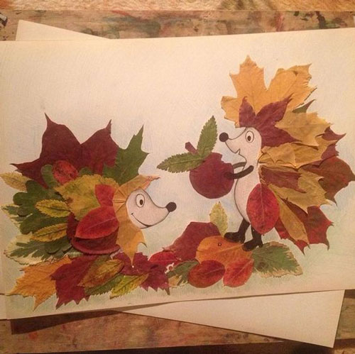 аппликация из листьев на листе бумаги 3