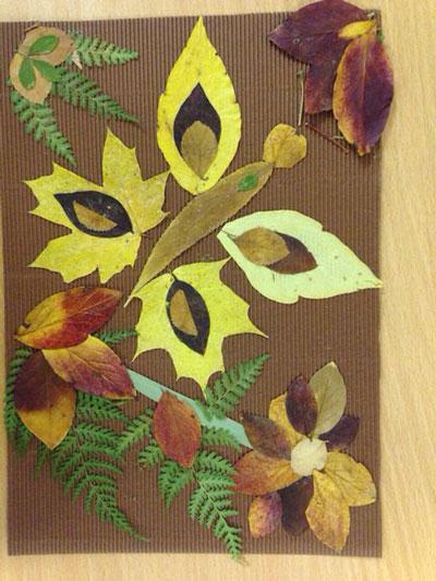 осенняя аппликация из листьев и бумаги для детей 5