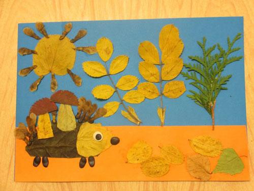 осенняя аппликация из листьев и бумаги для детей 4