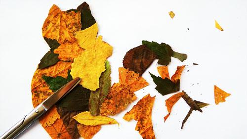аппликации из листьев из цветной бумаги 6