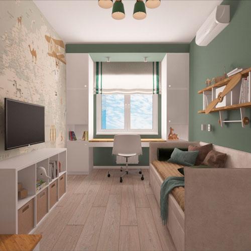 дизайн детской прямоугольной комнаты для школьника 10