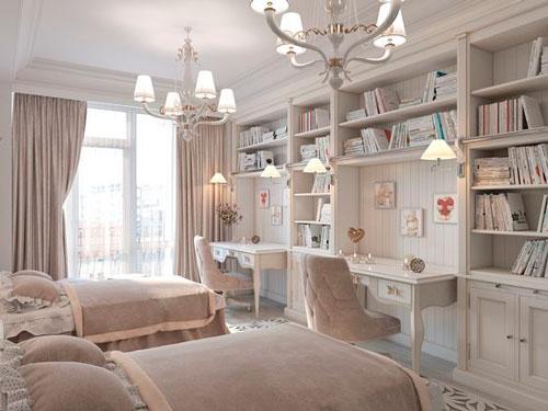 Дизайн детской прямоугольной комнаты для двоих 9