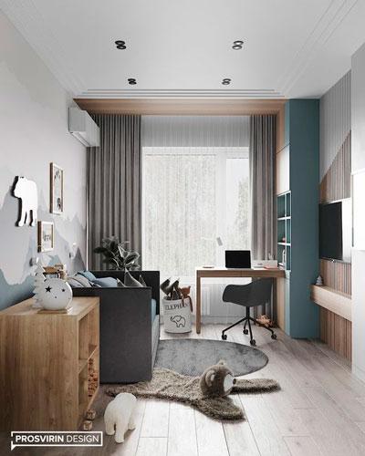 Дизайн детской прямоугольной комнаты для двоих 10