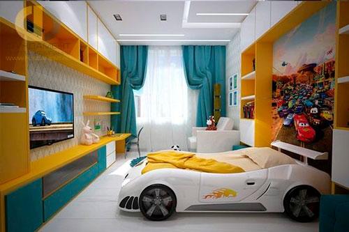 какой дизайн детской прямоугольной комнаты выбрать 2