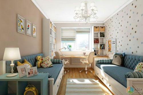 Дизайн детской прямоугольной комнаты для двоих