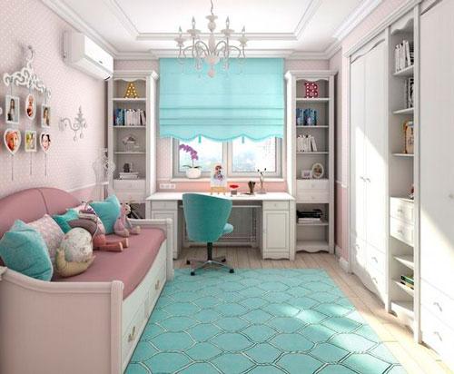 дизайн детской комнаты прямоугольной формы с окном 3