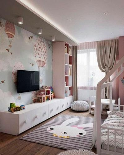 дизайн детской комнаты прямоугольной формы с окном 4