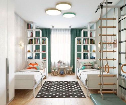 дизайн детской комнаты прямоугольной формы с окном 6