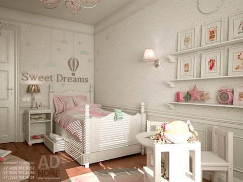 дизайн детской комнаты прямоугольной формы с окном 7