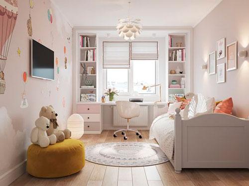 дизайн детской комнаты прямоугольной формы с окном 8