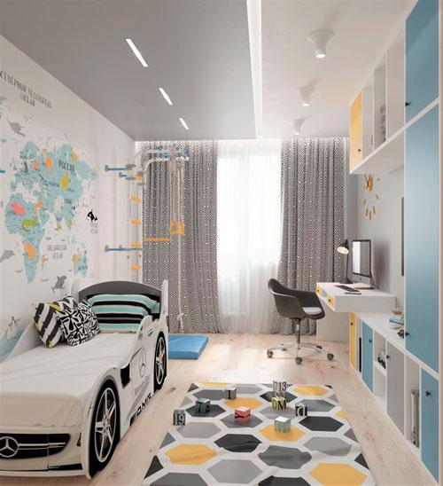 дизайн детской комнаты прямоугольной формы с окном 10