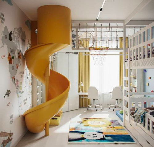 дизайн прямоугольной детской комнаты фото 1