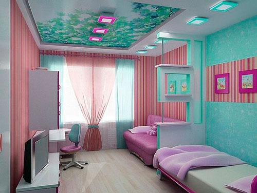 дизайн прямоугольной детской комнаты фото 2