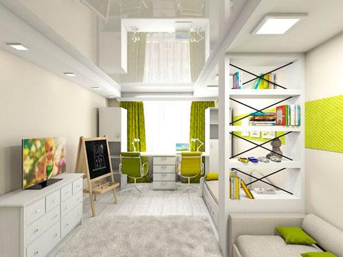 дизайн прямоугольной детской комнаты фото 5
