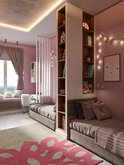 дизайн прямоугольной детской комнаты фото 6