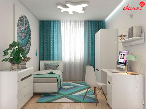 Дизайн детской прямоугольной комнаты для двоих 3
