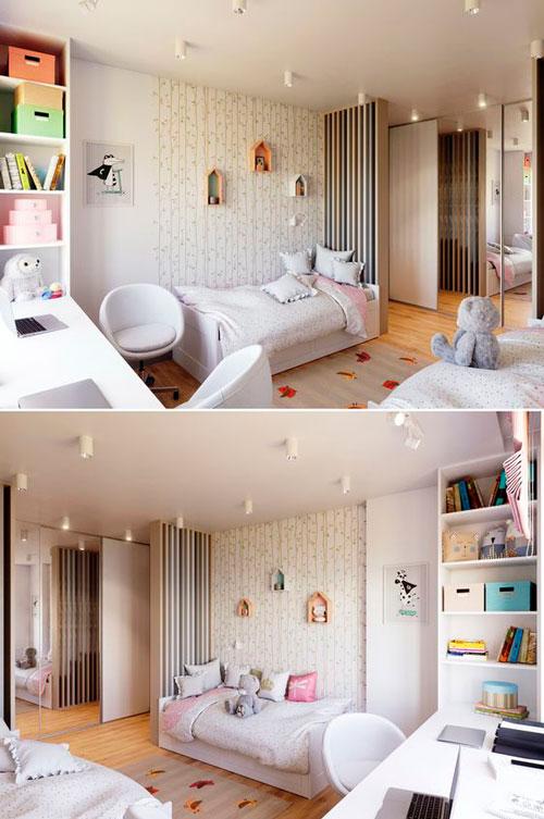 дизайн прямоугольной детской комнаты с окном 2