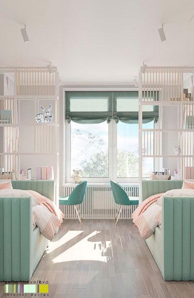 дизайн прямоугольной детской комнаты с окном 3