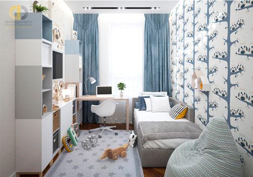 Дизайн детской прямоугольной комнаты для двоих 4