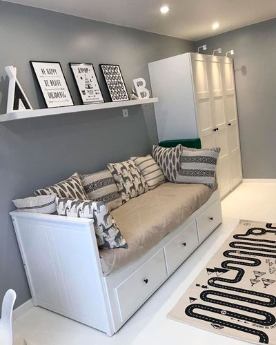 дизайн детской комнаты прямоугольной формы 2