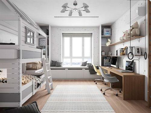 дизайн детской комнаты прямоугольной формы 3