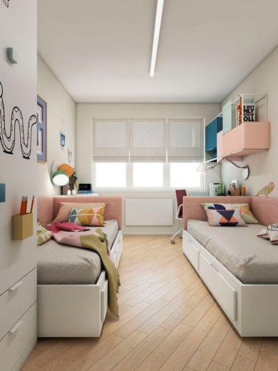 дизайн детской комнаты прямоугольной формы 4