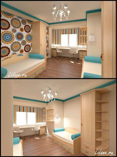 дизайн детской комнаты прямоугольной формы 7