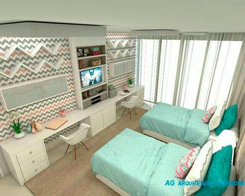 дизайн детской комнаты прямоугольной формы 8