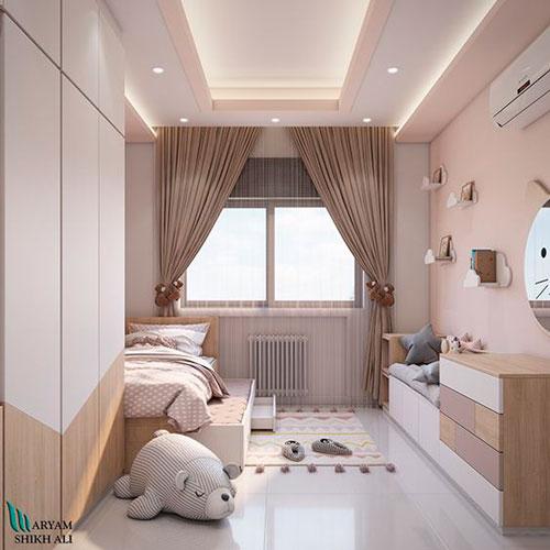 дизайн детской комнаты прямоугольной формы 9