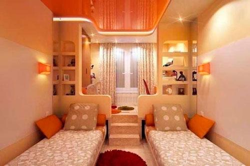 дизайн детской прямоугольной комнаты для школьника 1