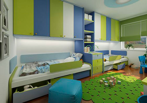 дизайн детской прямоугольной комнаты для школьника 2