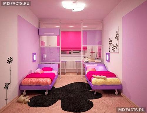 дизайн детской прямоугольной комнаты для школьника 3