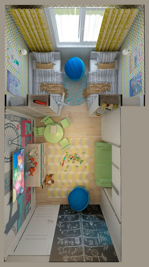 дизайн детской прямоугольной комнаты для школьника 4