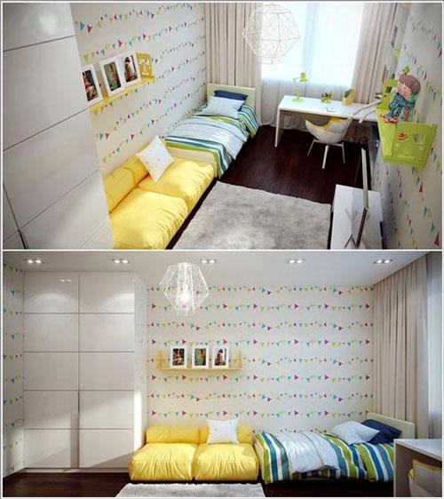 дизайн детской прямоугольной комнаты для школьника 5