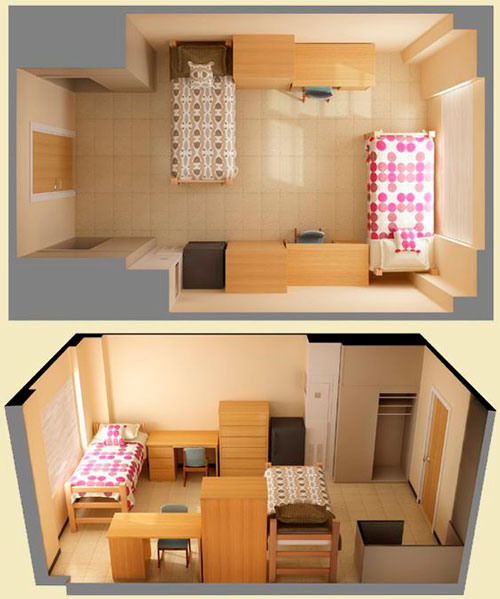 дизайн детской прямоугольной комнаты для школьника 8