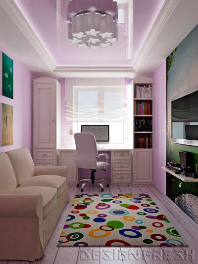 Дизайн детской прямоугольной комнаты