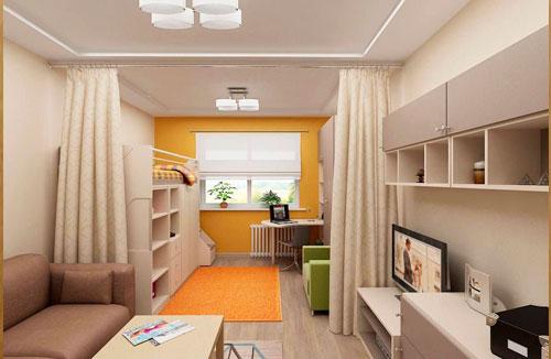 дизайн детской прямоугольной комнаты 12 кв.м фото