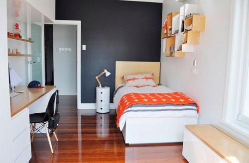 дизайн детской прямоугольной комнаты для школьника