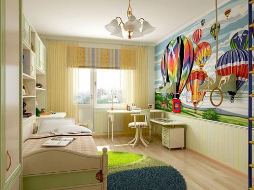 дизайн детской прямоугольной комнаты с балконом