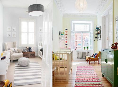 светлый дизайн детской прямоугольной комнаты