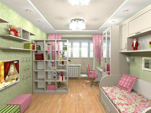 дизайн детской прямоугольной комнаты для девочки