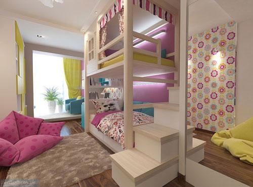 дизайн детской прямоугольной комнаты для двух девочек