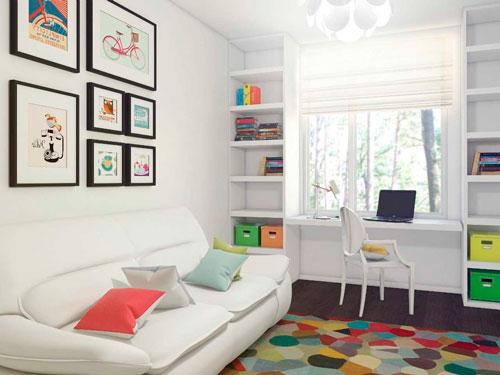 дизайн детской прямоугольной комнаты 9 кв.м стол у окна