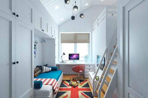 прямоугольная детская комната дизайн для двоих