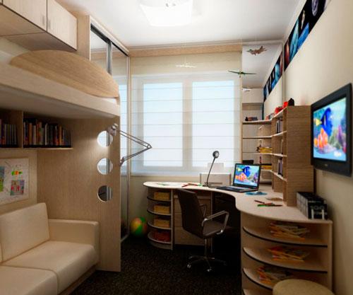 дизайн детской прямоугольной комнаты для подростка 15 лет