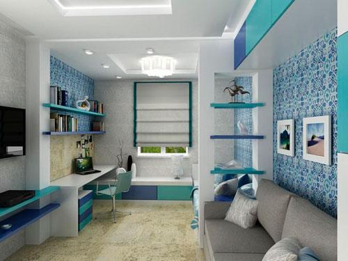 Дизайн прямоугольной комнаты для ребенка 10 лет