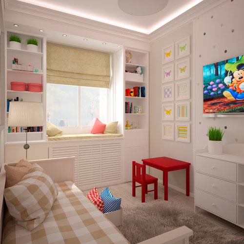 дизайн прямоугольной детской комнаты с окном
