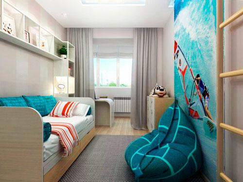 детская комната дизайн 12 кв м прямоугольная