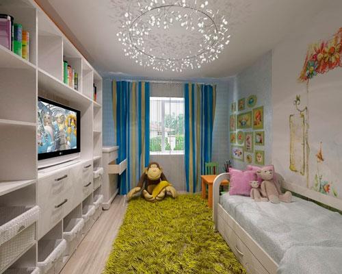 дизайн прямоугольной детской комнаты фото